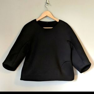 COS Black Structured Top with Pockets XS